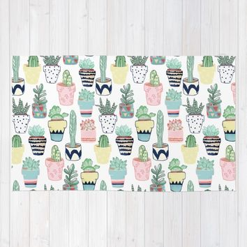 Cute Cacti in Pots Rug by Tangerine-Tane