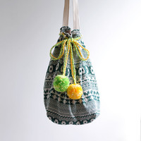 forest green, simple shoulder bag, reversible bag, tribal pattern, pom pom