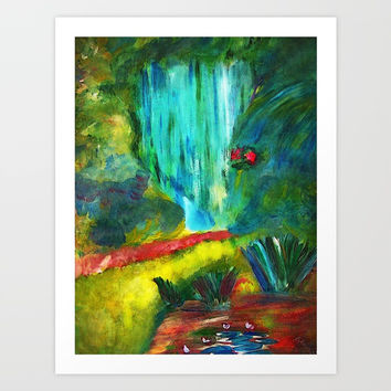 waterfall Art Print by AidaArt