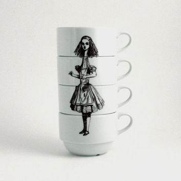 Alice in Wonderland set of 4 Coffee Cups Porcelain Drink Me Whimsical Literature English Stacking