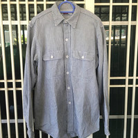 Vintage 70s 80s Big Mac Hickory Striped Mens Workwear Denim Button ups Shirt