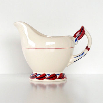 Vintage Creamer Vernon Kilns California Pottery Hand Painted USA White Red Blue