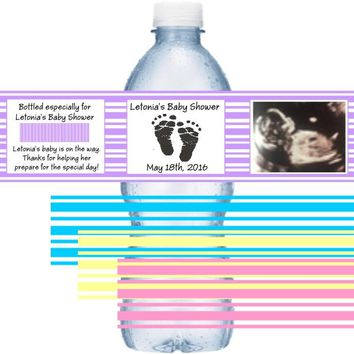 21 Add Your Photograph Sonogram Baby Shower Water Bottle Labels