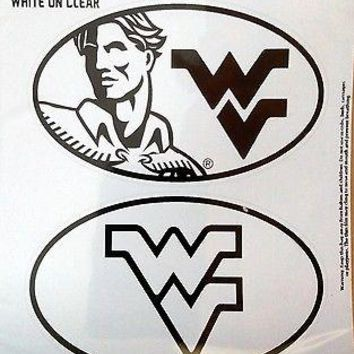West Virginia Mountaineers 2-Pack EURO STYLE Oval Home Auto Decals University
