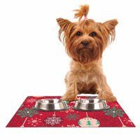"""julia grifol """"Christmas Balls"""" Red Green Pattern Holiday Vector Dog Place Mat"""