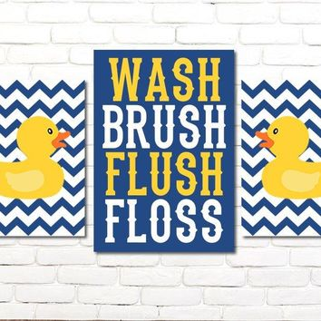 Duck Bathroom Wall Decor, Duck Theme Bathroom Wall Art, Shared Kid Child  Bathroom CANVAS or Prints, WASH Brush Flush Rules Set of 3 Decor