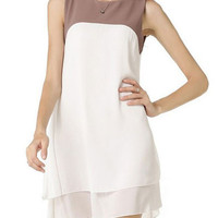 Summer White Sleeveless Irregular Double-layered Chiffon Mini A-line Dress