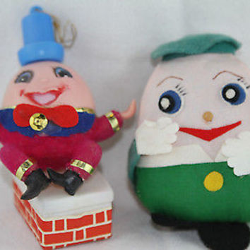 Plush Humpty Dumpty Christmas Ornaments Red Green Blue & White Dolls