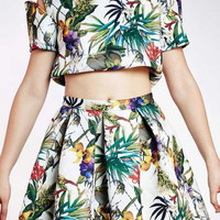 Tropical Print Crop Top And Mini Skirt (& other stories)
