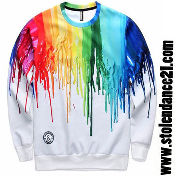 Men 3D Print Paintball Crew Neck Top Sweatshirt code100062