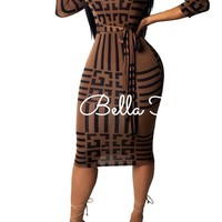 Brown Geometric Squares Dress | Nikki Bella Online Boutique| Geo