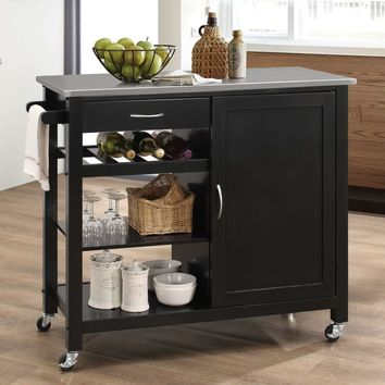 Acme 98317 Ottawa natural and black finish wood and metal accents kitchen island cart