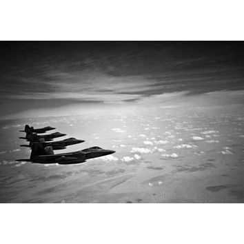 F22 Airplane poster Metal Sign Wall Art 8in x 12in Black and White
