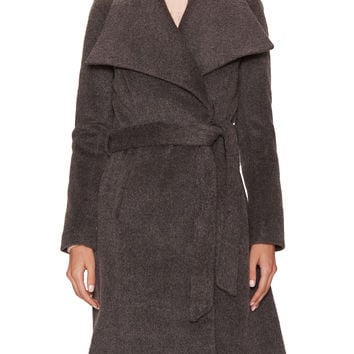 Tahari Outerwear Women's Mia Wool Belted Spread Coat - Dark Grey -