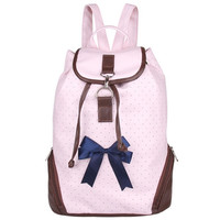 Baby Pink Dotted Printed Bowknot Ornate Backpack