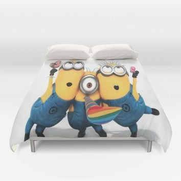 minions,graphic novel,happy,funny Duvet Cover by Kareffsa