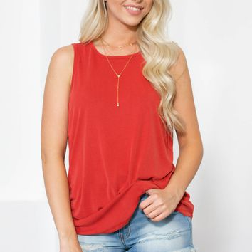 Mara Ruffle Side Tank | Dusty Red