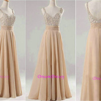 Long dress, peach chiffon prom dress, sweetheart prom dress, inexpensive beading prom dress  8376