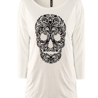 Skull Print Seven Sleeves T-shirt