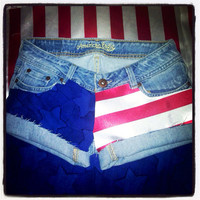 Fabric Stars and Stripes denim shorts  by AngeliqueMerici on Etsy