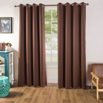 "Chocolate Blackout Room Darkening Grommet Curtains Window Panel Drape 53"" x 96"" Long"
