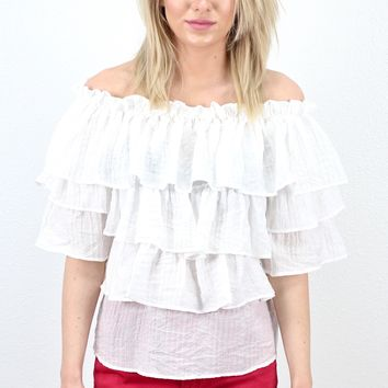 Ruffle & Frills Off Shoulder Blouse {Off White}