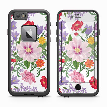 Pink, Lilac, and Red Spring Flowers On White Surface Skin for the Apple iPhone LifeProof Fre Case