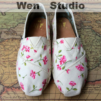 Vintage Floral Inspired Design Custom Shoes Hand Painted Shoes,Flats Shoes,Painted Custom Shoes Best Birthday Gifts