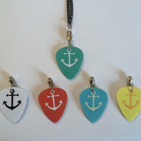 Interchangeable Plastic Guitar Pick Anchor & Chevron Necklace - Comes w/ 5 Colors To Swap Out To Match Outfits