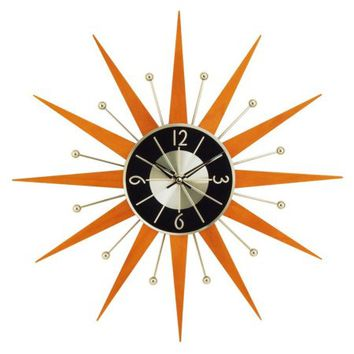 George Nelson Wooden 19.375 in. Starburst Wall Clock - Walmart.com