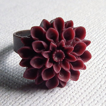 Dark Red Adjustable Flower Ring, Dahlia Flower Copper