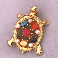 A Dazzling Sarah Cov Goldtone Turtle Pin with a Shell Covered in Rainbow Polished Stones & Faux Pearls