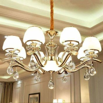 Crystal Chandelier Glass Lighting Fixture European Iron Chandeliers Kronleuchter decorative-candles Cristal Chandeliers Ceiling