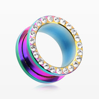 A Pair of Colorline Encircle Sparkle Screw-Fit Ear Gauge Tunnel Plug
