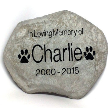 Personalized Garden Stone Pet Memorial Marker Large Heavy Duty Stone