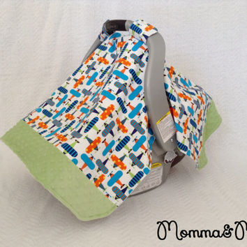 infant - baby - boy- Airplane and Celery Green Minky Trimmed Carseat Cover -carseat canopy
