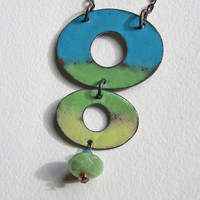 Turquoise Yellow Green Ovals Enamel Necklace Art by OxArtJewelry