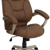 High Back Brown Microfiber Contemporary Executive Swivel Office Chair
