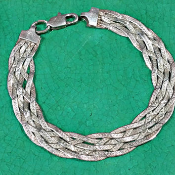 Vintage Silver Braided Chain Bracelet 7.25 Inch Wide Flat 925 Italy Italian Silver Lobster Clasp Slightly Textured for Extra Sparkle Nice!