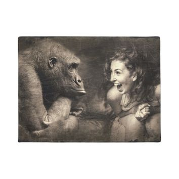 Woman Making Gorilla Laugh Doormat