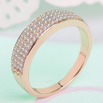 Womens Classic Ring with CZ +Gift Box