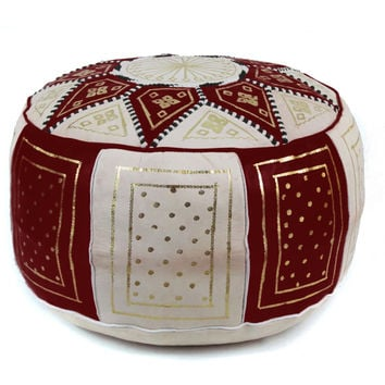 chocolate Fez Moroccan Leather Pouf Round Genuine Leather