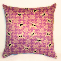 "Pillow Covers 18"" Set of Two - Pink Houndstooth/Skull and Crossbones/Hearts Pattern"