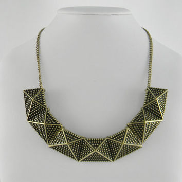 New Anthropologie Inspired GOLD Semi Circle Dimensional Bib STATEMENT Necklace - Womens - Gift
