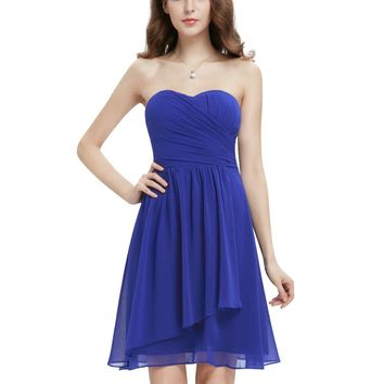 HE03647SB Clearance Sale Ever Pretty Cute Sweetheart Ruffles Empire Line Chiffon Mini Bridesmaid Dress 2017
