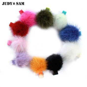10pcs/lot Cute Real Mink Fur Pom Pom Hair Pin Hair Accessories Handmade for Girls Women Fur Ball Hair Barrette Clip
