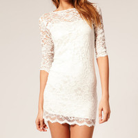 Half Sleeve Lace Bodycon Mini Dress