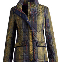 Navy Check Moredalecheck Womens Checked Quilted Jacket  | Joules UK