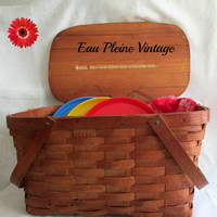 Mid Century Modern Wood Picnic Basket | Plates Cups Towel | Outdoor Entertaining
