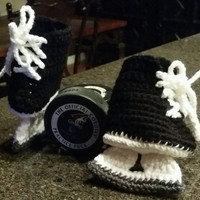Hockey skates baby booties handmade crochet